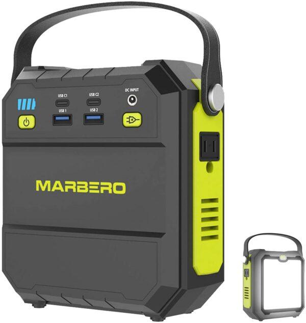 MARBERO ポータブル電源 M87 22500mAh/83.25Wh 小型 軽量 家庭用蓄電池 PSE認証済み AC(80W 瞬間最大120W)/USB/Type-Cなど出力 急速充電QC3.0 三つの充電方法 超高輝度LEDライト付き 車中泊 キャンプ 釣り アウトドア 防災グッズ 地震 停電対策 エナーボックス 二年間保証