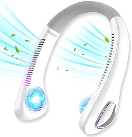 2021年最新設計 首掛け扇風機 羽根なし くびかけ扇風機 ネッククーラー ハンズフリー 携帯扇風機 USB充電式 3段階風量 4000mAh超大容量